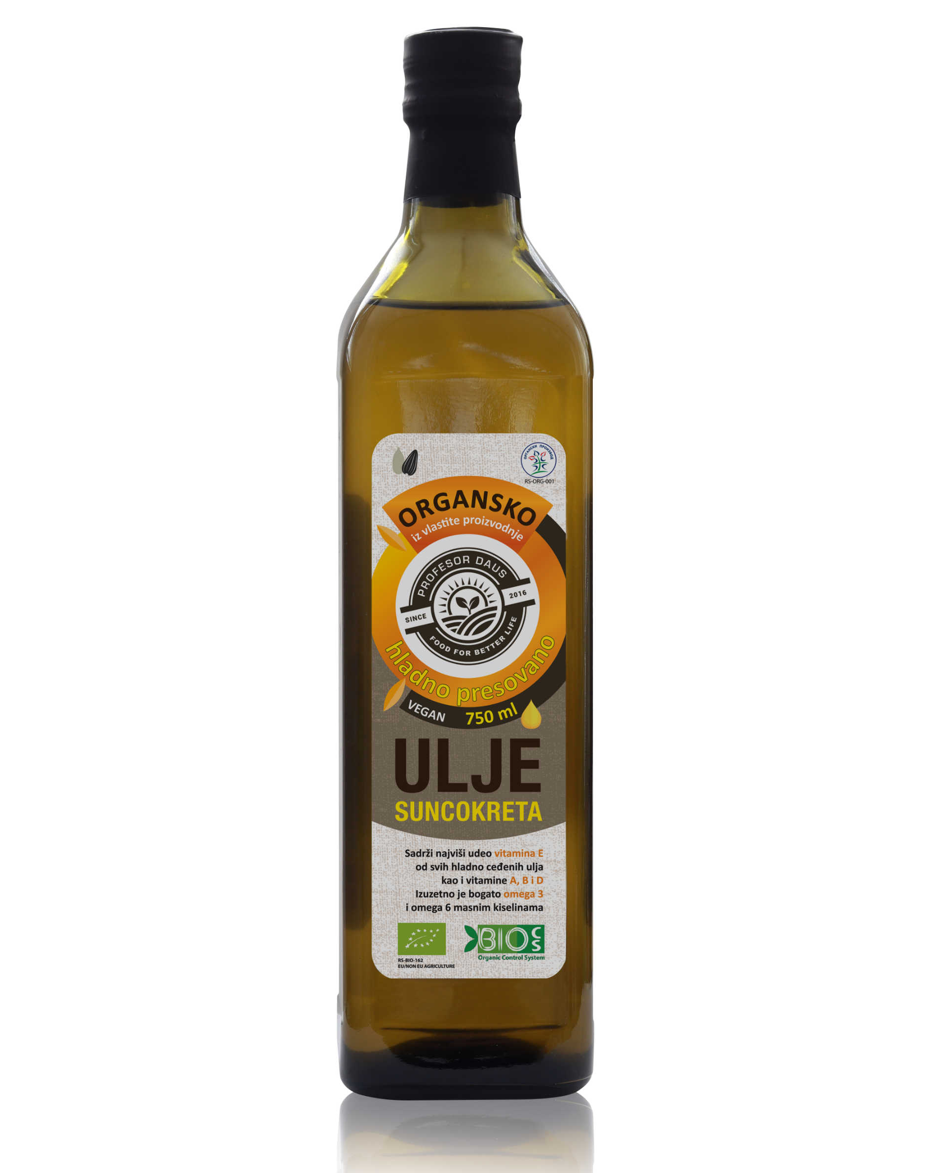 Cold-pressed oil from organic sunflower